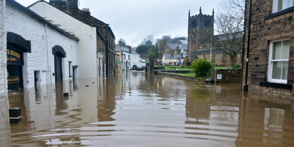 natural disaster flooded town