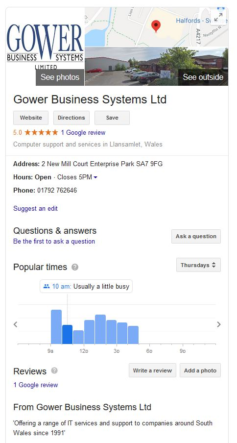 gower business systems result page on Google search